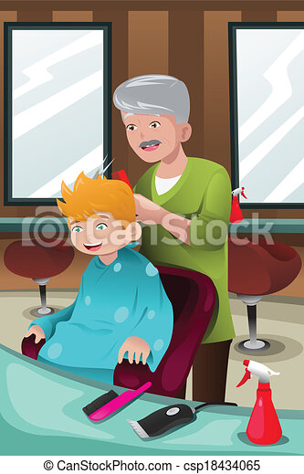 Kid getting a haircut - csp18434065