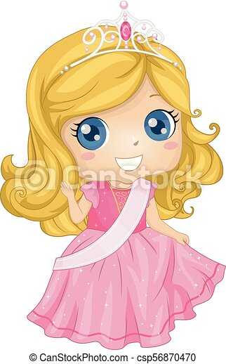 Kid Girl Beauty Queen Costume Illustration Illustration Of A Kid Girl Waving While Wearing A Crown Gown And Sash