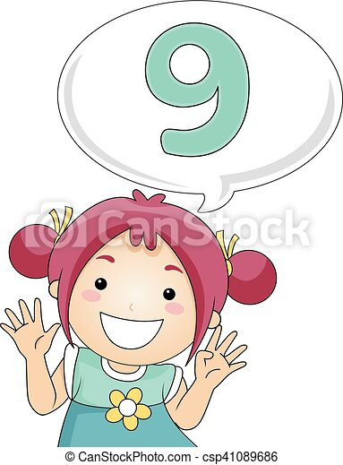 Kid Girl Count Illustration Of A Little Girl Gesturing