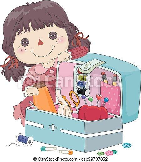 Kid Girl Doll Sewing Kit Organizer - csp39707052