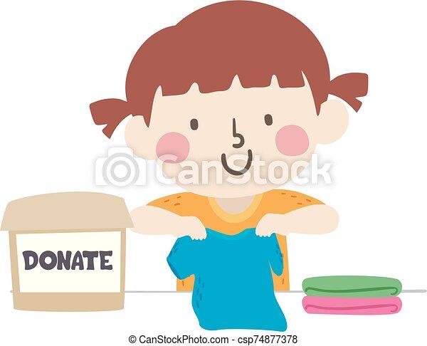 Kid Girl Donate Clothes Box Fold Illustration - csp74877378