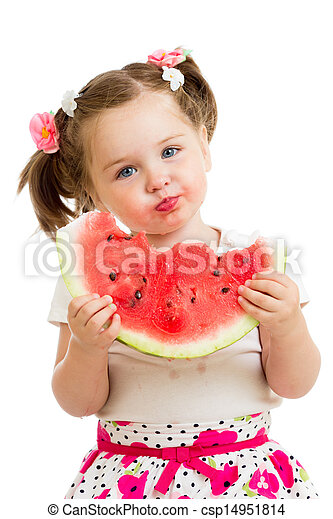 kid girl eating watermelon isolated on white background - csp14951814
