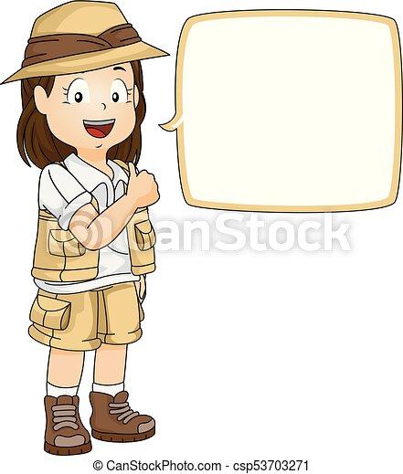 Kid Girl Explorer Speech Bubble Ok Illustration