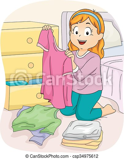 Kid Girl Folding Clothes Shirt - csp34975612