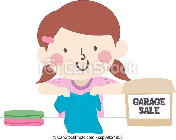 Kid Girl Garage Sale Clothes Illustration - csp89824953