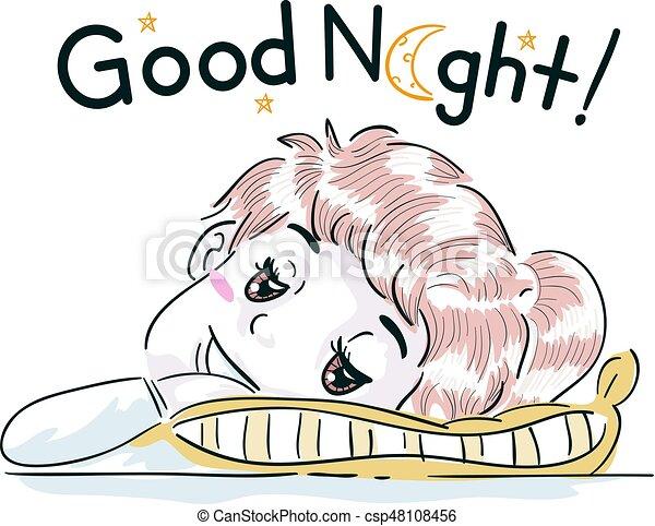 kid girl good night pillow. typography illustration clipart