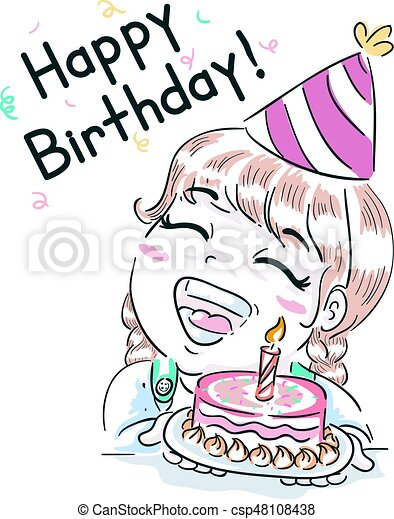 Kid girl happy birthday cake Typography illustration vectors