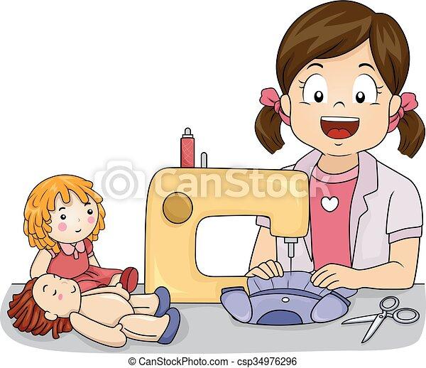 Kid Girl Hobby Doll Dress Sewing Machine