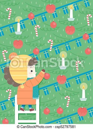Kid Girl Jul Xmas Tree Decorate Illustration - csp52797581