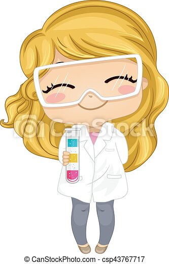 Kid Girl Lab Gown Test Tube Density - csp43767717