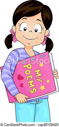 kid girl my poetry book illustration featuring a cute little girl rh canstockphoto com poetry clipart free poetry clipart free