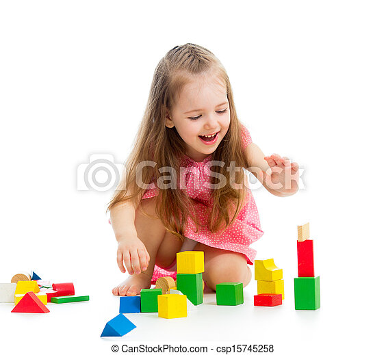 kid girl playing with toys - csp15745258