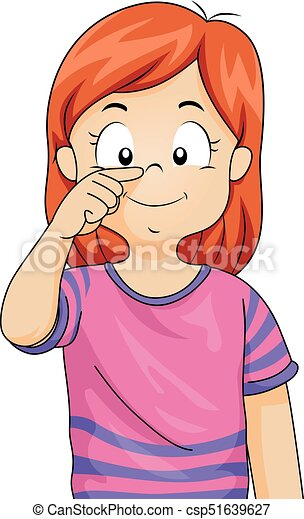 Kid Girl Point Nose Illustration - csp51639627