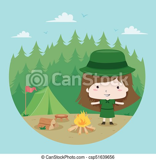 Boy And Girl Scout Camping In Nature Stock Vector - Illustration of camp,  landscape: 131474986