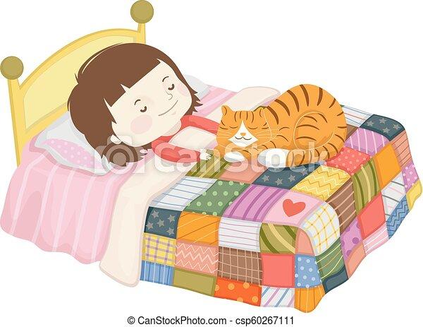 Kid Girl Sleep Cat Quilt Bed Illustration Illustration Of A Kid