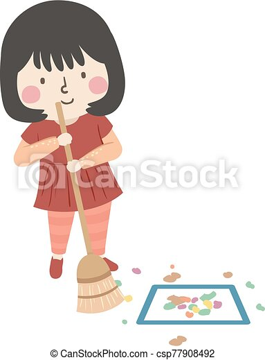 kid girl sweep floor square clean activity illustration of a kid girl sweeping the floor and moving the scrap of paper https www canstockphoto com kid girl sweep floor square clean 77908492 html