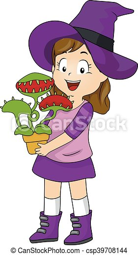 Kid Girl Witch Costume Venus Fly Trap - csp39708144  sc 1 st  Can Stock Photo & Kid girl witch costume venus fly trap. Illustration of a little girl ...