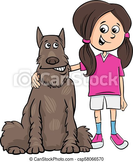 kid girl with dog cartoon illustration - csp58066570