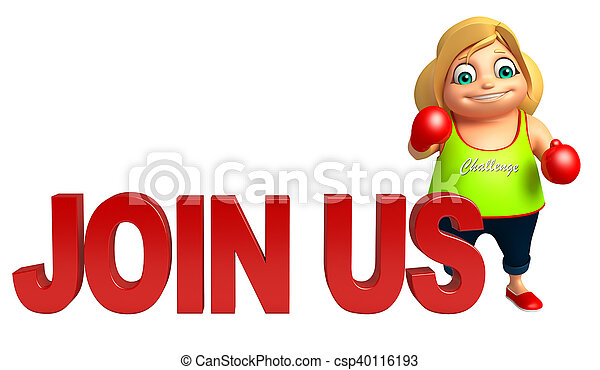 kid girl with Join us sign & Boxing gloves - csp40116193