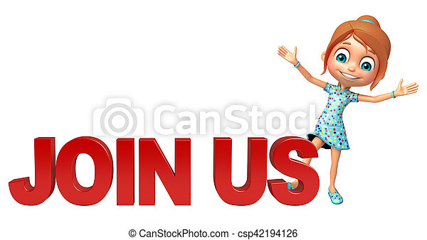 kid girl with Join us sign - csp42194126