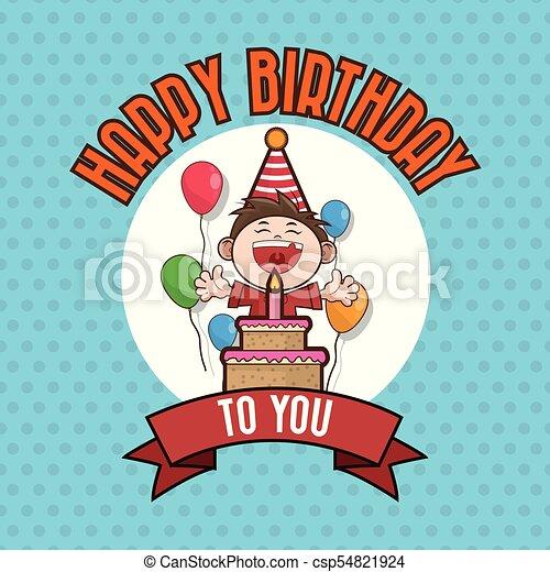 Kid Happy Birthday Card Cartoon Icon Vector Illustration Vector