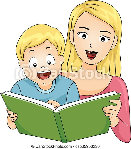 kid happy boy mom read book illustration of a happy boy Reading News Clip Art Fall into Reading Clip Art