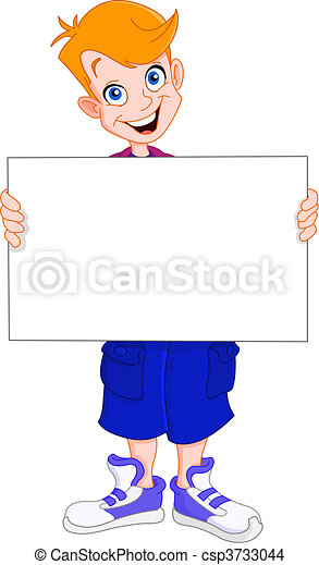 Kid holding blank sign - csp3733044