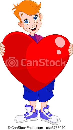 Kid holding heart valentine - csp3733040