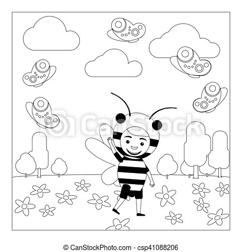 Kid In Bee Dress Coloring Page