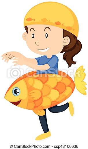 Kid in goldfish costume - csp43106636  sc 1 st  Can Stock Photo & Kid in goldfish costume illustration vectors - Search Clip Art ...