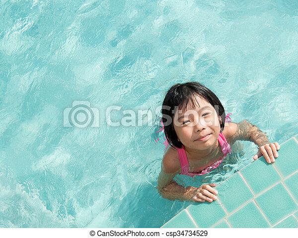 Kid in swimming pool - csp34734529