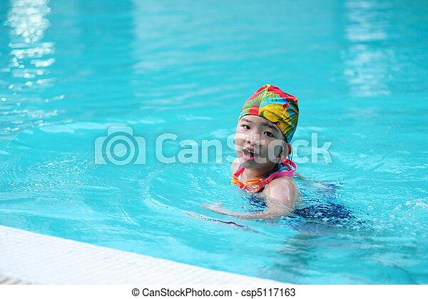 Kid in swimming pool - csp5117163