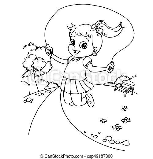 Kid Jumping Rope Cartoon Coloring Page Vector