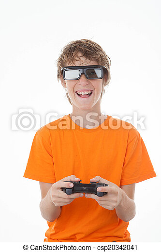 kid playing 3D game with control - csp20342041