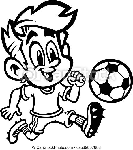 Cartoon Boy Kid Playing Football Or Soccer In A Green T Shirt And