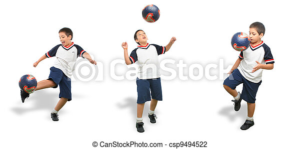 Kid playing soccer isolated - csp9494522