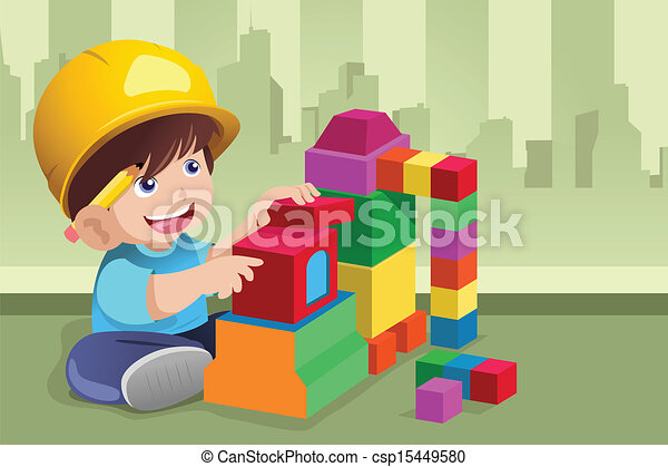 Kid playing with his toys - csp15449580