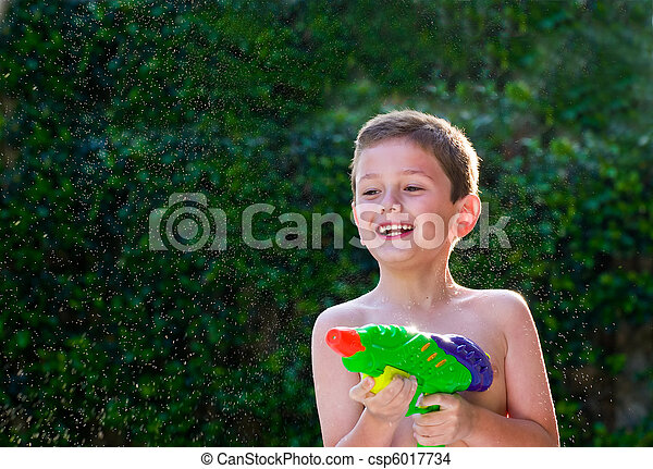 Kid playing with water toy. - csp6017734