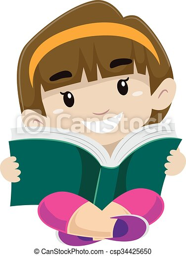 illustration of a girl kid reading a book in sitting position rh canstockphoto com kid reading book clipart kid reading book clipart