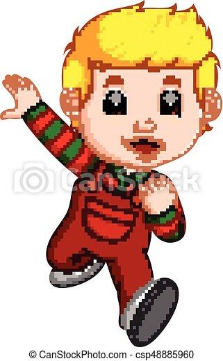 Kid running cartoon - csp48885960