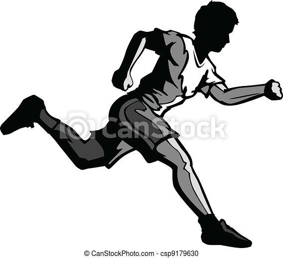 Kid Running Vector Cartoon - csp9179630