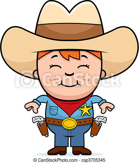 a happy cartoon kid sheriff standing and smiling clipart vector rh canstockphoto com sheriff callie clipart sheriff star clip art