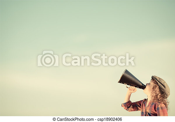 Kid shouting through megaphone - csp18902406