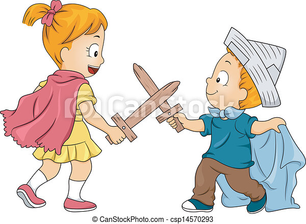 Kid Siblings Playing Swordfight Illustration Of Little