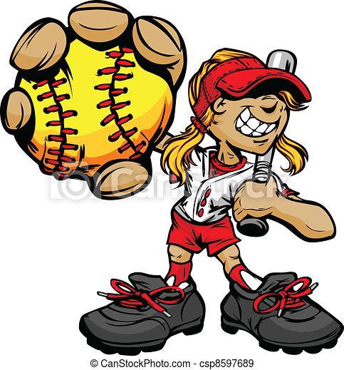 Kid Softball Player Holding Basebal - csp8597689