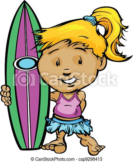 Kid Surfer Girl Holding Surfboard Vector Image - csp9298413