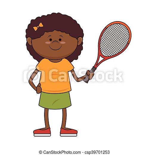 Kid Tennis Player Sport Girl Kid Tennis Player Cartoon Racket Sport