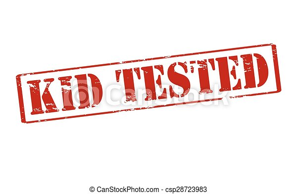 Kid Tested Rubber Stamp With Text Inside Vector
