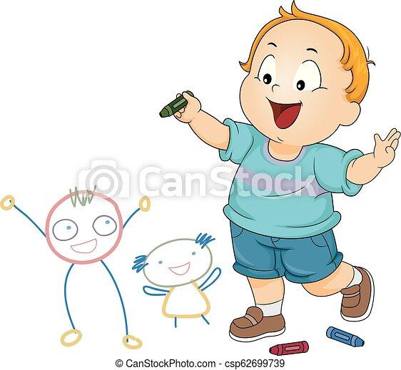 Kid Toddler Boy Doodle Friends Illustration - csp62699739