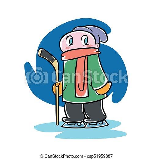 Kid With An Ice Hockey Stick Cute Cartoon Boy Holding Ice Hockey Stick